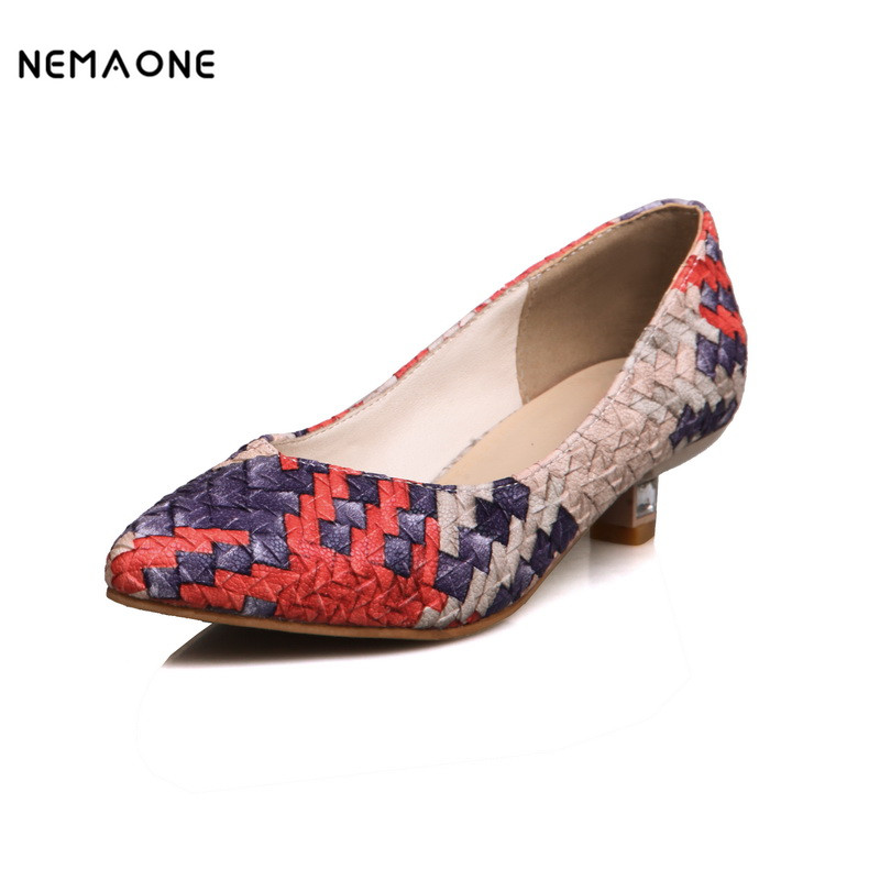 NEMAONE 2017 New mixed Color weaving women pumps poined toe women shoes low heel shoes woman<br>