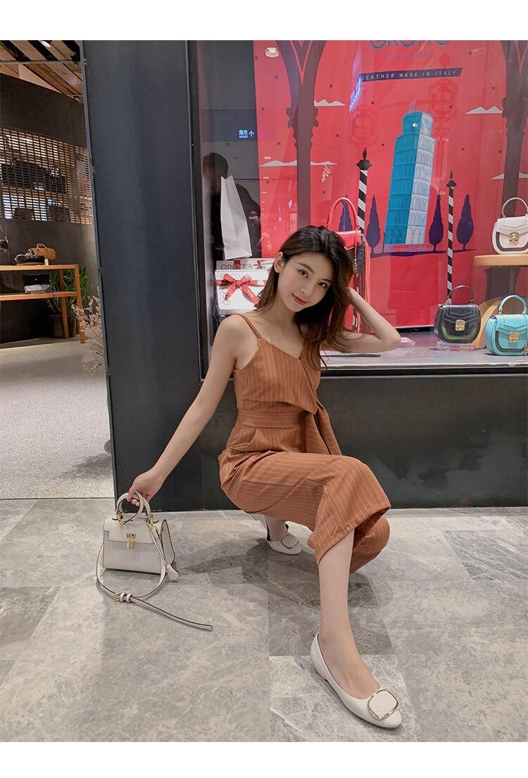 Sling Off Shoulder Sleeveless Striped Jumpsuit 2019 New Fashion V-Neck High Waist Nine Points Wide Leg Jumpsuit Summer 20 Online shopping Bangladesh