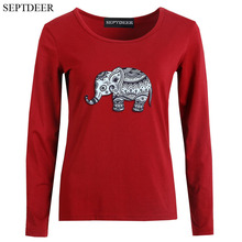 SEPTDEER New Autumn And Winter All-match Elephant Print Comfortable Cotton  Womens Long Sleeve Tshirt  S-6XL Dropship LP52551