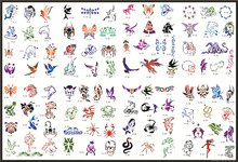 Golden Phoenix Book 9 Temporary Airbrush Tattoo Stencils For Body Art Paint Makeup Cosmetics 100 Designs Free Shipping(China)