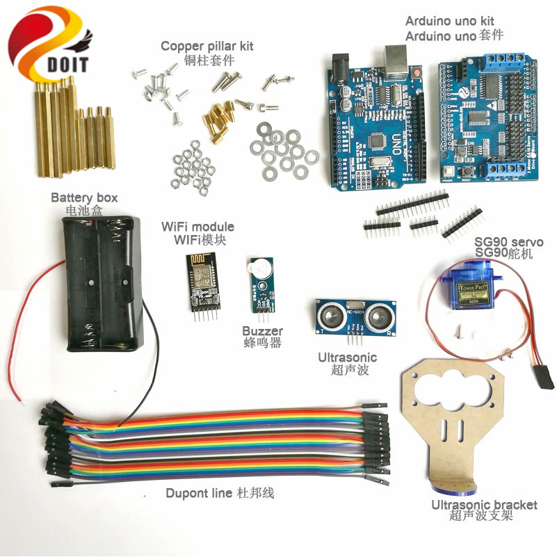 DOIT 1 set WiFi Control Ultrasonic Obstacle Avoidance Controller kit for Tank Car Chassis with SG90 Servo Arduino kit<br>