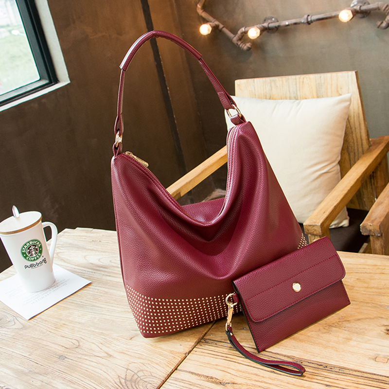 Ladies Hand Bags Women Designer Hobos Purses and Handbags Ladies Quality Leather handbag Portable Travel Neverful Tote Rivets<br>