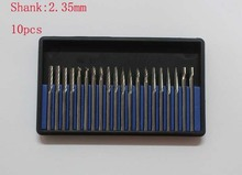 10pcs 2.35mm Dental lab instrument Shank Tungsten Steel Solid Carbide Rotary Files Diamond Burrs Dremel