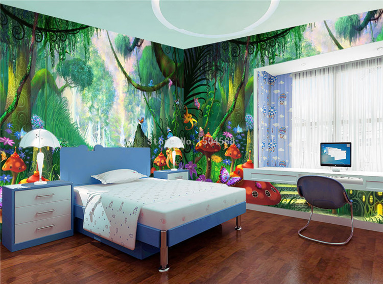 HTB1WhLJSpXXXXa2aFXXq6xXFXXX2 - Custom Mural Wallpaper 3D Cartoon Fairy Forest Mushroom Path Wall Painting Children Kids Bedroom Eco-Friendly Photo Wall Papers