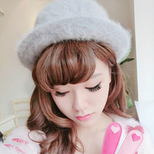 Ladies Retro English Style Winter Warm Rabbit Fur Dome Curling Jazz Hat(China)