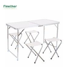 Finether высота-Регулируемая Алюминий складной стол Портативный для внутреннего активного отдыха Отдых обеденный Пикник Кемпинг(China)