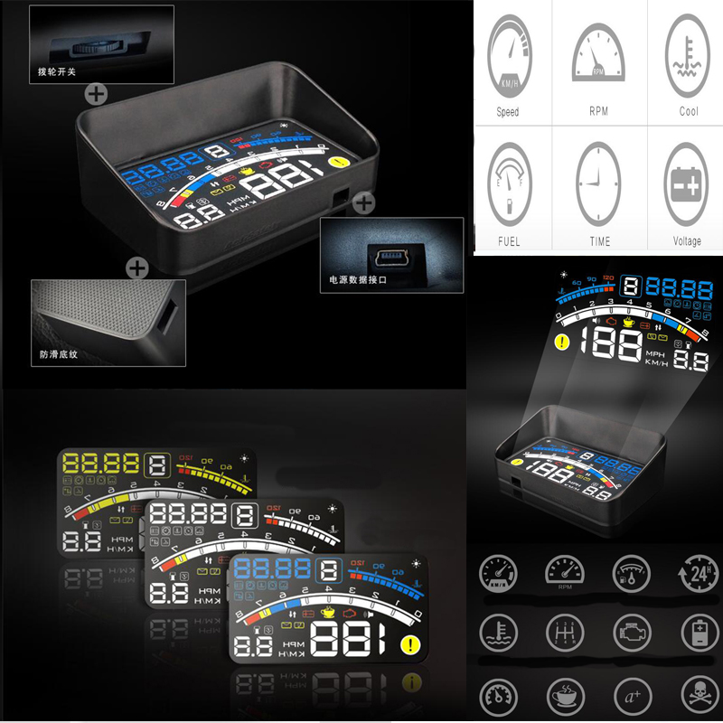 Good quality For E60 E90 F10 F30 F15 E63 E64 E65 E86 E89 E85 4E 5.5 Car OBD2 II EUOBD Car HUD Head Up Display auto head lights<br>