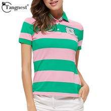 TANGNEST Women Top 2017 Summer Hot Sale Striped Short Causal Style Femme Collar Short Sleeve Breathable Women Polo Shirt  WTP006