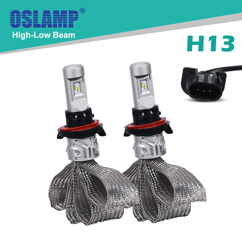 Oslamp H13 Led Car Headlight Bulbs Hi-Lo Beam 6500K Fan-less SUV Head Light Kits 2WD 4WD Auto Led Head Lamp #9008 CREE CSP Chips<br><br>Aliexpress