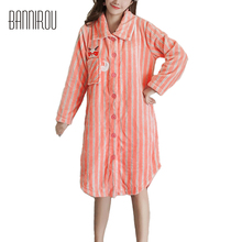 2017 Winter New Flannel Robe Woman Shrimp Cure Cat Cartoon Scarf Striped Full Pajama Female Pyjama Nightgown For Woman BANNIROU(China)