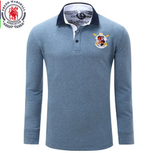 Europe Size New Brand Men's Solid Long Sleeve Polo Shirt Autumn Full Sleeve Warm Shirt Casual Tops Jeans Blue Europe Size 056