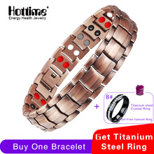 Hottime Double Row 4 IN 1 Bio Elements Energy Magnetic Bracelet Men's Fashion Healing 99.95% Pure Copper Bracelets Bangles(China)