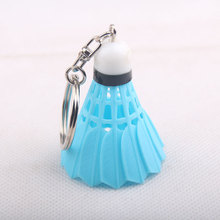 RE 100pcs/lot Alloy Plastic Key Chain Mobile Phone Accessories Almost Real Badminton Multiple Mix Colors Sports Keyring KeyChain(China)