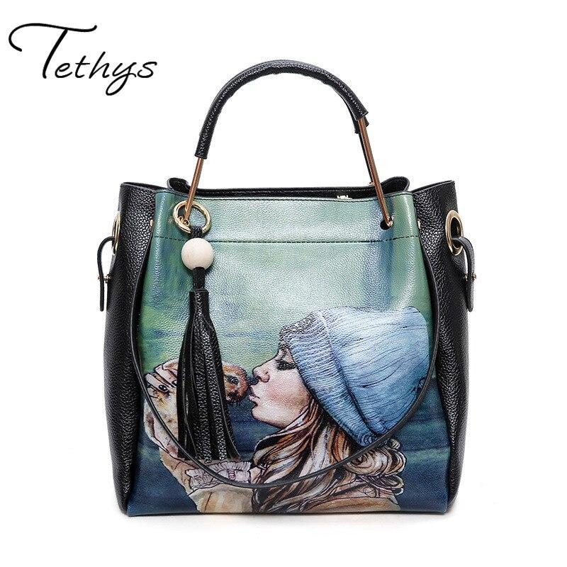 New Women bags Double Shoulder Bags Totes Feminina Handbags Women handBags Designer Tassel printing package<br><br>Aliexpress