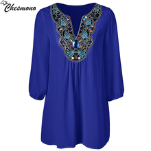 chesmono 2017 Summer Women Shirt Blouse Style Fashion Chiffon three quarter Sleeve Casual Top Embroidery pinup lady Tunic blouse