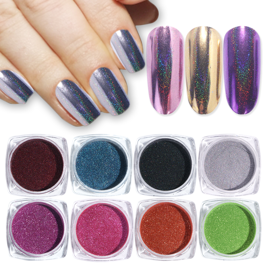 1pc Holographic Mirror Powder Rose Gold Metallic Laser Chrome Nail Powder Glitter Flakes DIP Pigment Nails Accessoires Dust  (1)