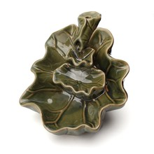 1pc Vintage Design Green Lotus Flower Ceramic Backflow Incense Burner Stick Incense Burner Home Office Decoration