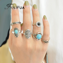 FANHUA 6pcs/set Antique Silver Color Knuckle Ring Set Acrylic Branches Pattern Blue Stone Rings Accessories For Women