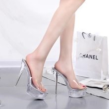 Buy Transparent Silver Rhinestone Women Stiletto Ankle Strap Platform Stripper Ultra High Heel Pumps Woman Wedding Fetish Shoes 3006