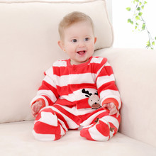 2017 New Spring Autumn Coral Fleece Baby Romper Boys Cartoon Long Sleeve Newborn Baby Girls Jumpsuit Infant Christmas Clothes(China)