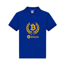Digital currency Bitcoin Logo polo shirts fitness cotton polo summer short sleeve 3XL Prevailing bitcoin logo Polo shirt tops