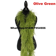 Free Shipping 10 meters Olive Green Ostrich Feather Boas Ostrich Feather Scarf Ostrich Feather Fringes for Party Decoration 2ply