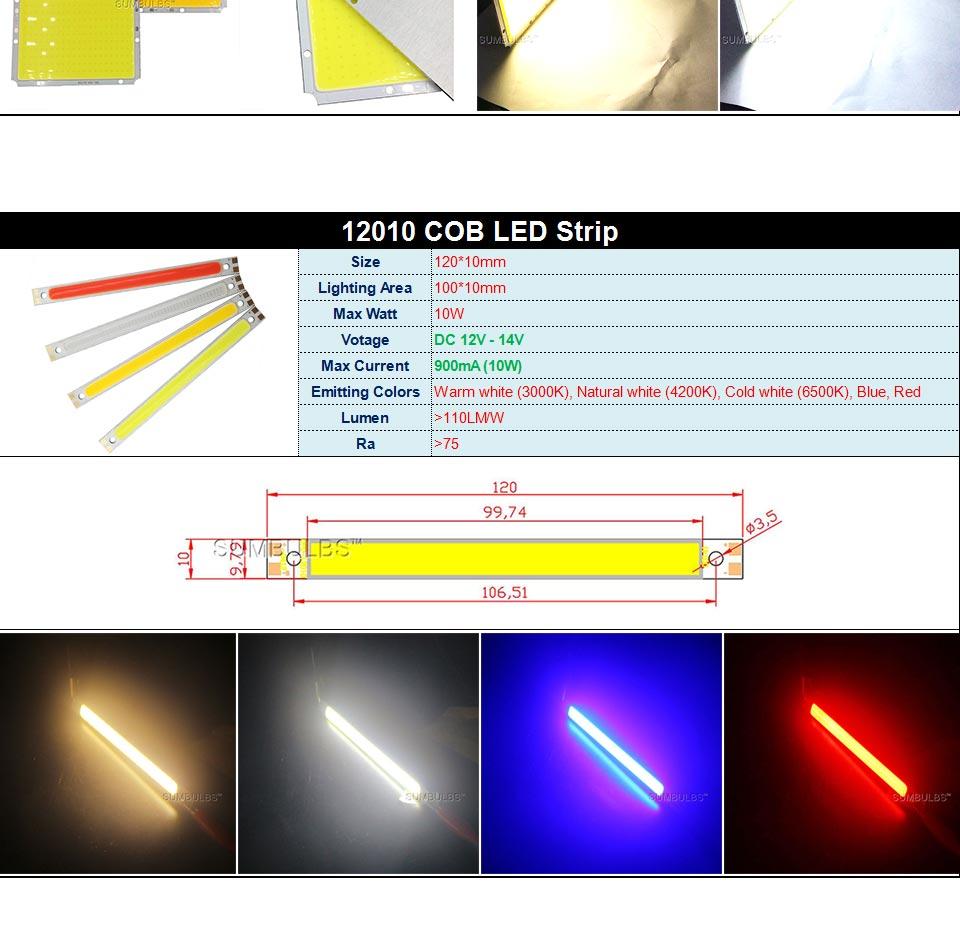 DC12V COB LED Strip Light Source 5W 10W 20W 50W 200W 300W LED Bulb White Blue Red Flip Chip COB Lamp DIY House Car Lighting 12V (5)
