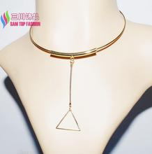 2016 new arrival Triangle pendant Chokers Fashion Novalty Gold/Silver Tube Stick Geometric False Collar Necklaces for Women