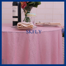 SQ025L many colors available round glitter light pink wedding sequin table cloth