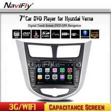 Car DVD GPS Headunit For Hyundai Solaris Verna Radio With BT ipod USB/SD Free map+3G HOST+wifi+Support Russian Menu