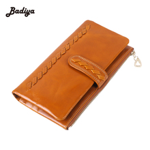 Women Genuine Leather Long Design Cowhide Coin Wallet Knitting Pattern Phone Case Weave Wallet Fashion Bifold Purse Bag
