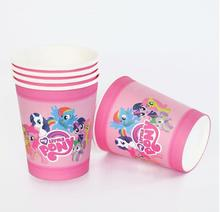 Happy Birthday Party Cartoon Cups Kids Favors My little Pony Paper Glass Baby Shower Decoration Supplies Tableware
