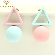 New Brand Different Geometry Cube Candy Color Stud Earrings For Women Fashion Korean Earrings Jewelry brincos E1157(China)