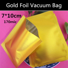 500pcs 7x10cm (2.8'' * 3.9'') Gold Vacuum Aluminum Foil Bag Vacuum Bag Can be Used for Food Storage/Cooking/Frozen Food(China)