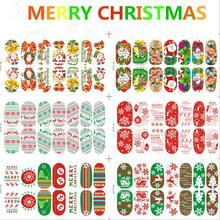 12pcs/Lot Luminous Nail Full Sticker Series of Christmas Snow and Santa Claus Water Transfers 3D Decals Foil Decorations Tips(China)