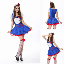ML5380 Free Shipping Blue Hello Kitty Costume 2 Avaiable Colors Party Costume Cosplay Halloween Costume