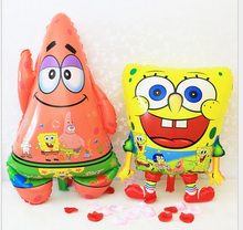 2pcs/set Cute Cartoon Animal Spongebob Patrick Star Shape Helium Foil Aluminum Balloons Birthday Party Ballon Gift for Kids