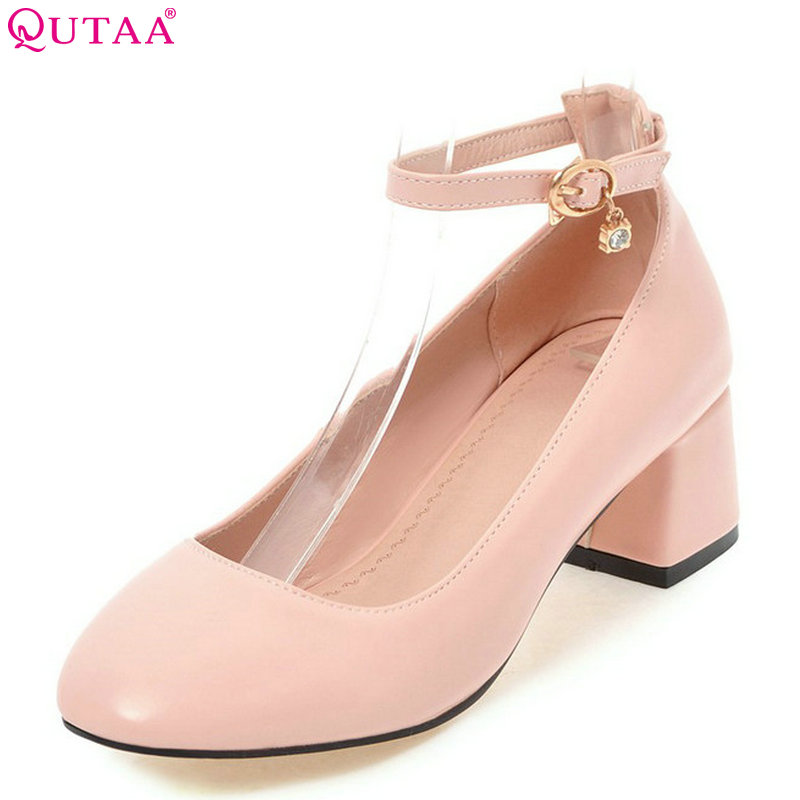 QUTAA 2018 Women Pumps Pu Leather Fashion Women Shoes Buckle Square Toe All Match Square Heel Pink Ladies Pumps Size 34-43<br>