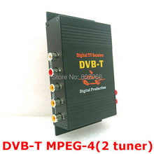 2 Tuners External Mobile DVB-T MPEG-4 Auto DVBT MPEG4 Digital TV Receiver Box With Remote Control For Car DVD GPS Player(China)