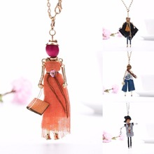 Fashion Lady Girl Doll Necklace Dress Handmade Frence Charm Women Necklace Choker Statement Pendant Flower Jewelry Accessories