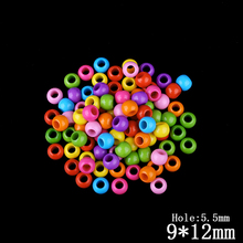 80pcs/lot Candy Color Big Hole  Beads Beading Acrylic Plastic Round Beads For Jewelry Making Supplies Decoration Kids Craft