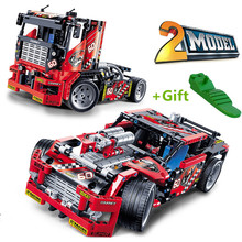 608pcs Race Truck Car 2 In 1 Transformable Model Building Block Sets DIY Toys Compatible Kids Gifts(China)