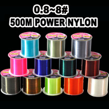 Hot sell 500M ZUKIBO Series Super Strong Monofilament Color Nylon Fishing Line 12 Colors 8LB 10LB 12LB 16LB 20LB 25LB