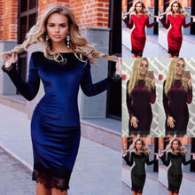 Buy Women Casual Long Sleeve Party Evening Winter Velvet Lace Mini Dress Solid Brief Womens Brief Dresses Clothing for $7.10 in AliExpress store