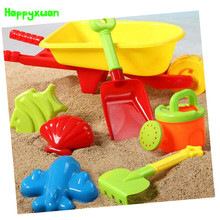 Happyxuan 7 pcs Beach Toy Set Kids Plastic Wheelbarrow Mold Shovel Kettle Water and Sand Play Tool(China)