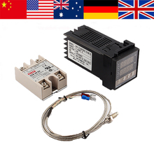 Hot Temperature Control Set Digital PID Temperature Controler+40A SSR+K Thermocouple REX-C100 Home Use(China)