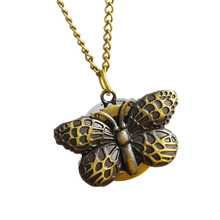 Womens Quartz Pocket Watch 1 PC Vintage Watch Necklace Bronze Butterfly Design Unisex Watch Pendant On Chain Wholesale 30M12(China)