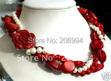"Wholesales Christmas 17"" White freshwater Pearl Red Coral Necklace Free gift free shipping"