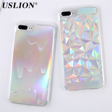USLION Luxury Colorful Phone Case For iPhone 7 7 Plus 6 6s Plus 5 5s SE Bling Laser Diamond Ice Cream Soft TPU Phone Case Cover