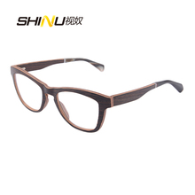 Vintage eyeglasses frame Reading Glasses black walnut glasses frame myopia Women expensive male Brand Name Fashion woman F2